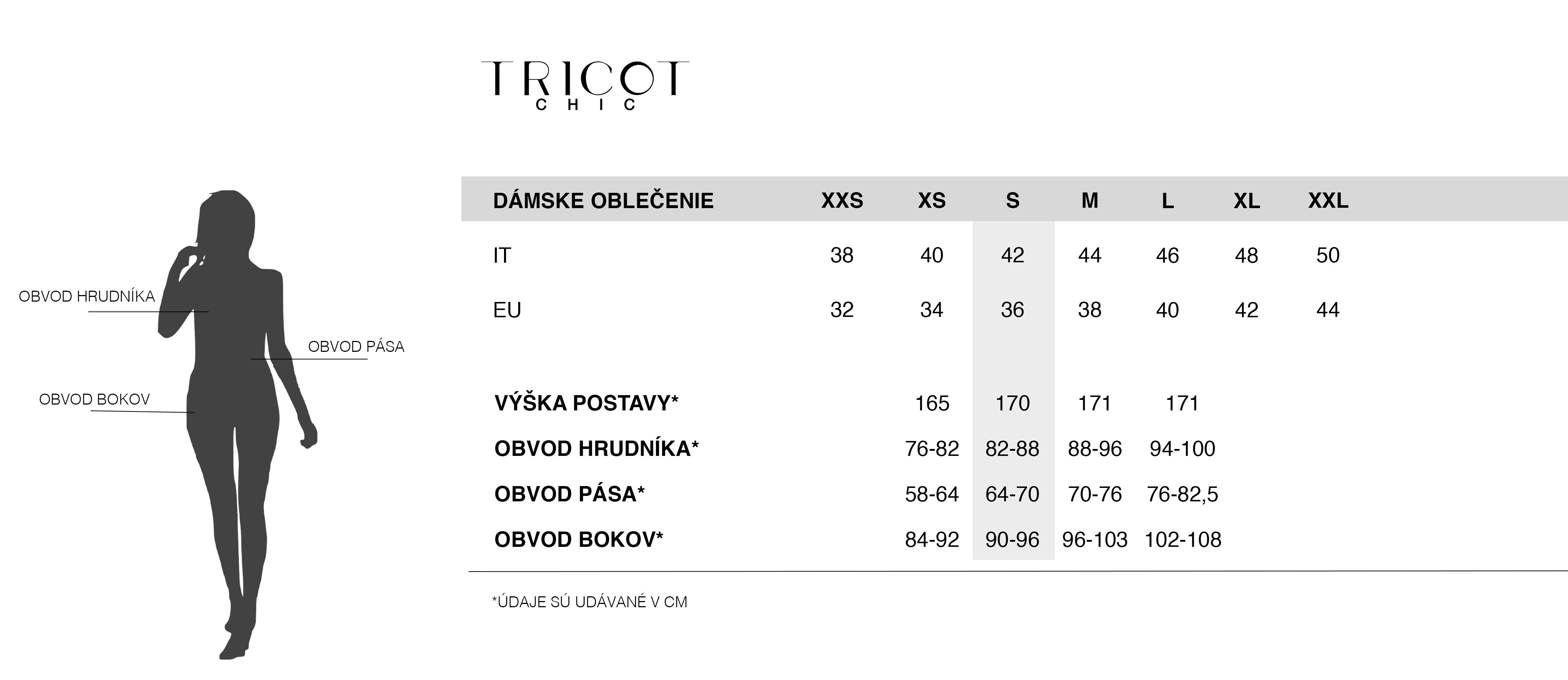 Veľkostná tabuľka Tricot Chic | Dámske oblečenie Tricot Chic