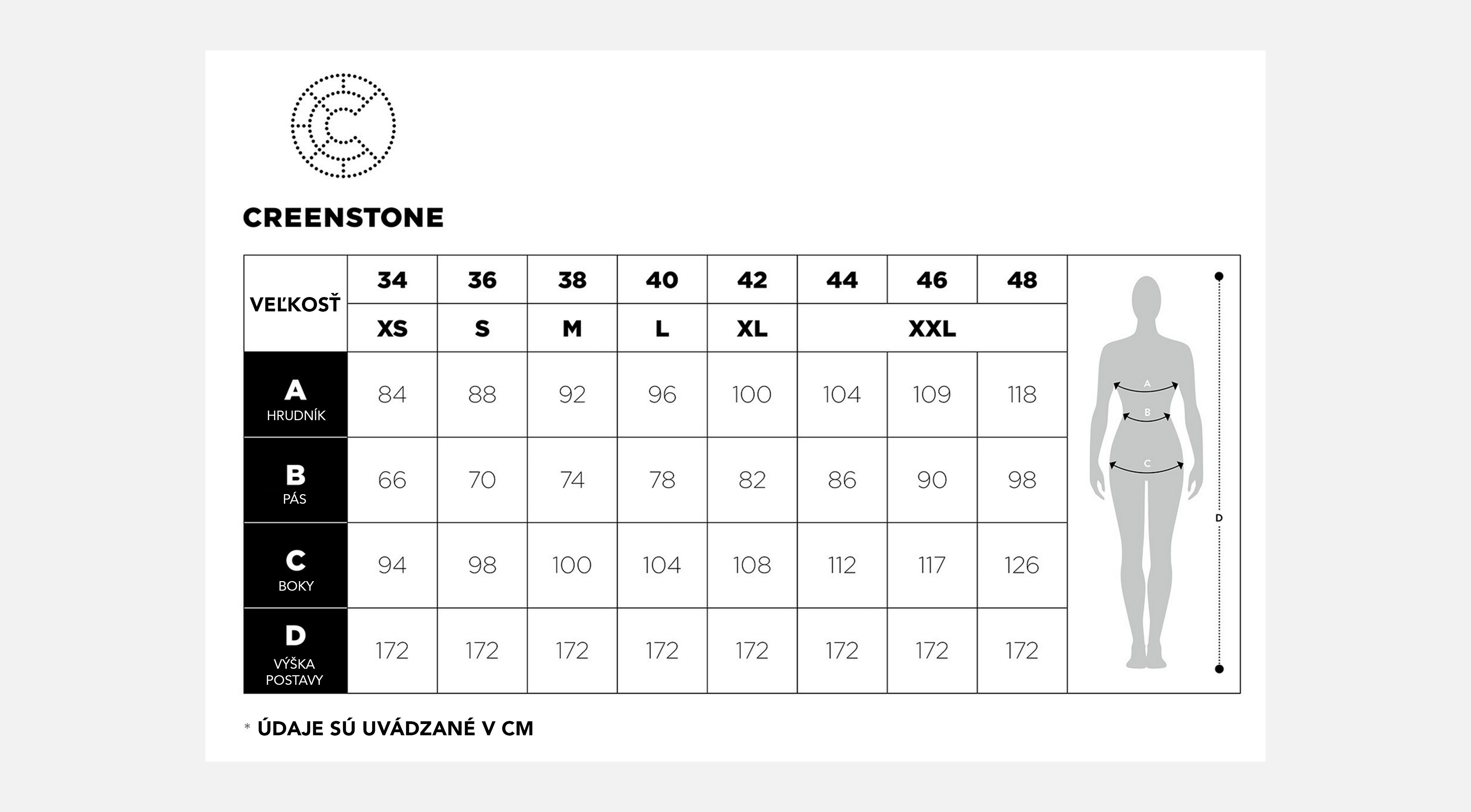 CREENSTONE veľkostné tabuľky | Dámske oblečenie CREENSTONE