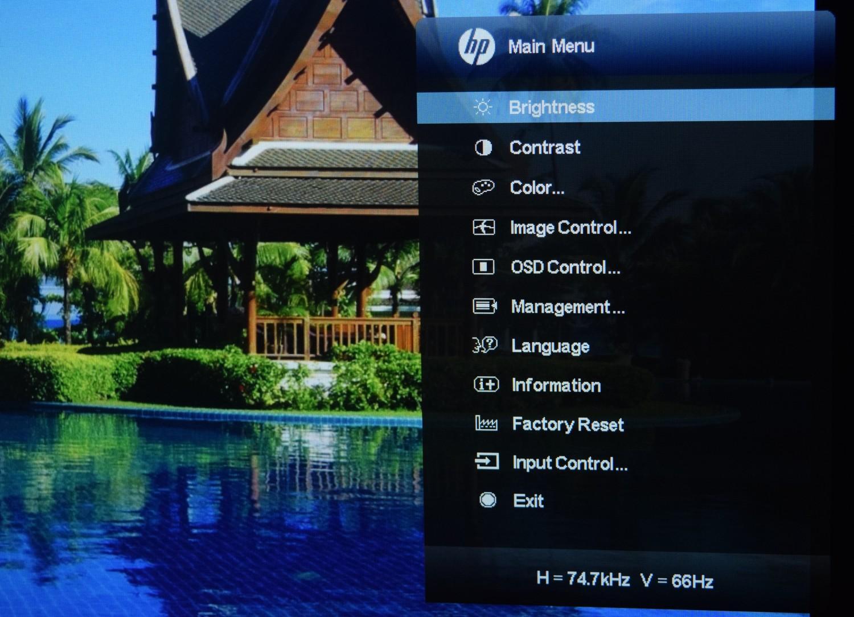 HP Z Display Z22i - pohľad na nastavenia