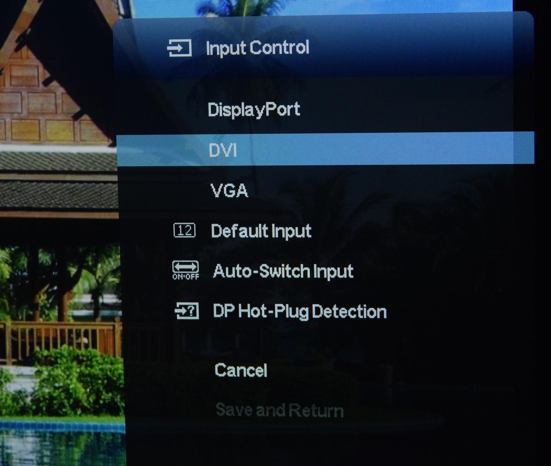 HP Z Display Z22i - pohľad na výber vstupov