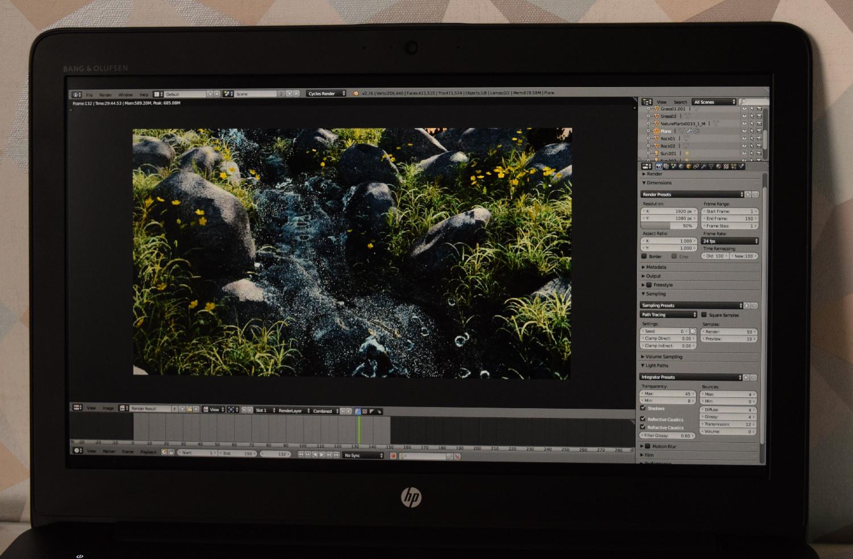 HP ZBook 15 G4 - pohľad na displej (Blender)
